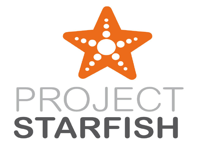 Project Starfish Logo: A 5 pointed star or Starfish ( orange color) on a white background