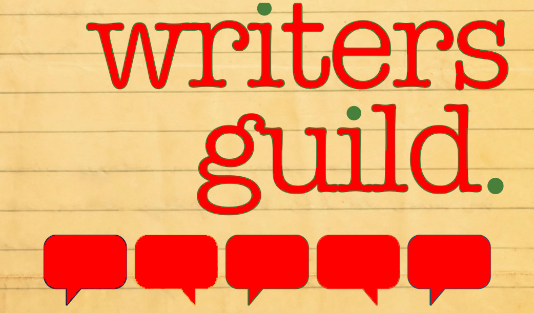 Image shows the words Writers Guild on a yellow orange background