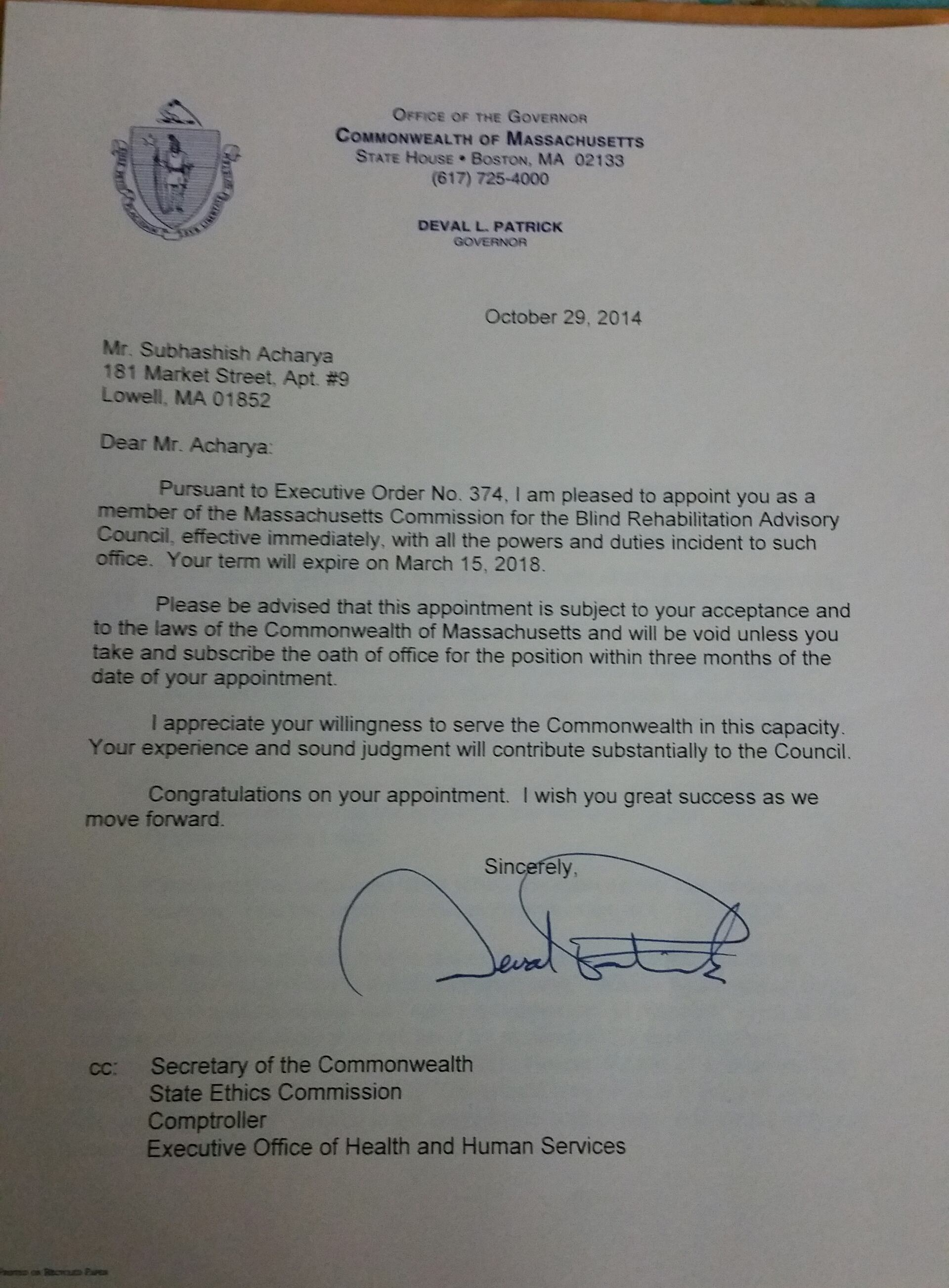 GOVERNOR OF MASSACHUSETTS APPOINTS FOUNDER TO EMPLOYMENT COMMITTEE OF COUNCIL