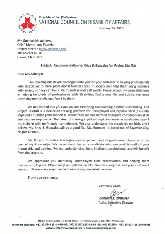 GOVT OF PHILIPPINES RECOMMENDATION LETTER
