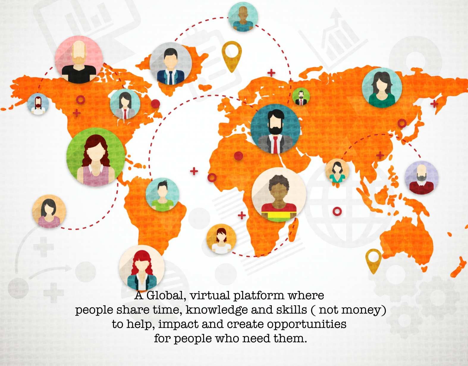60 Minute 2Impact - Picture shows a global map of professionals connecting and sharing knowledge with those who need opportunities