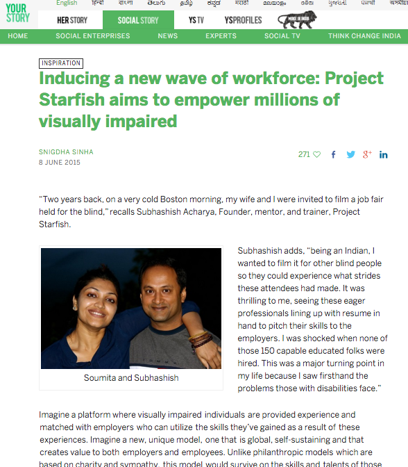 link is here : http://social.yourstory.com/2015/06/project-starfish/#