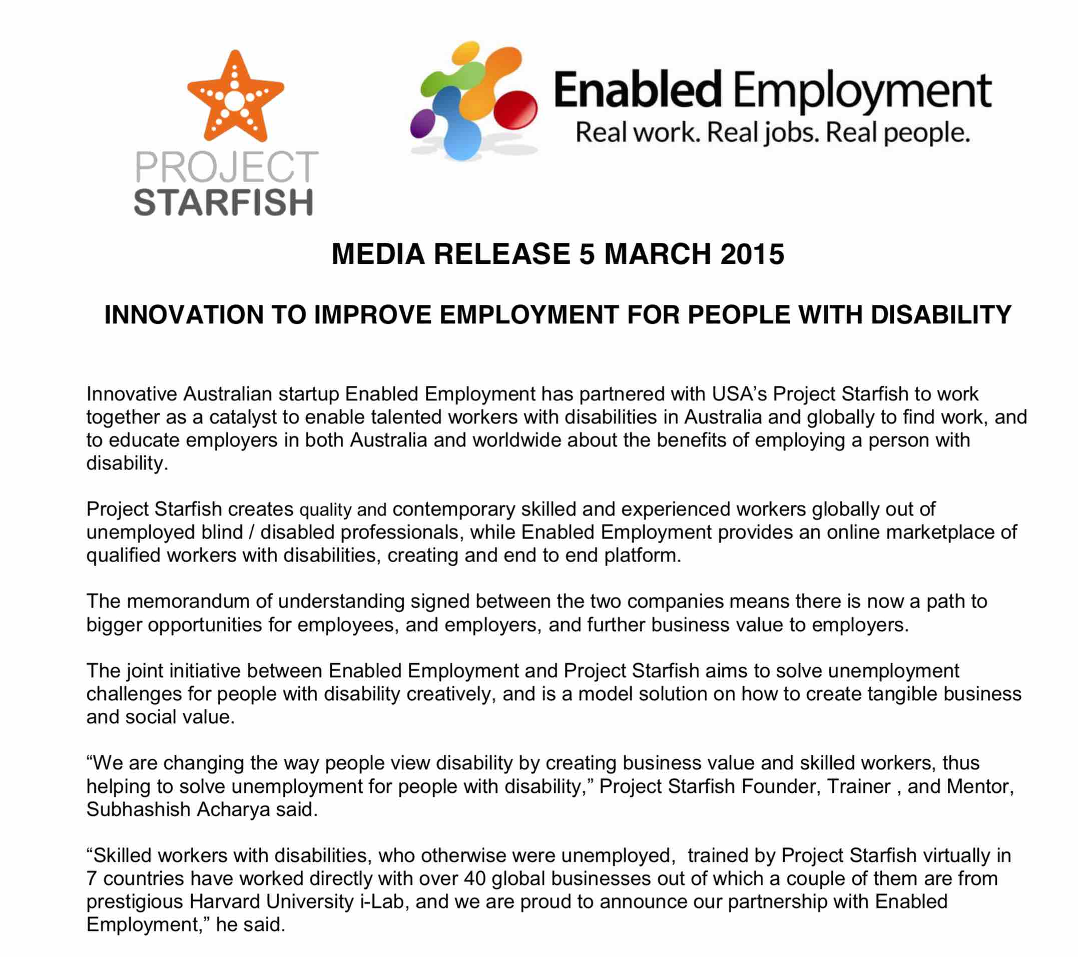 Project Starfish partners with Enabled Employment
